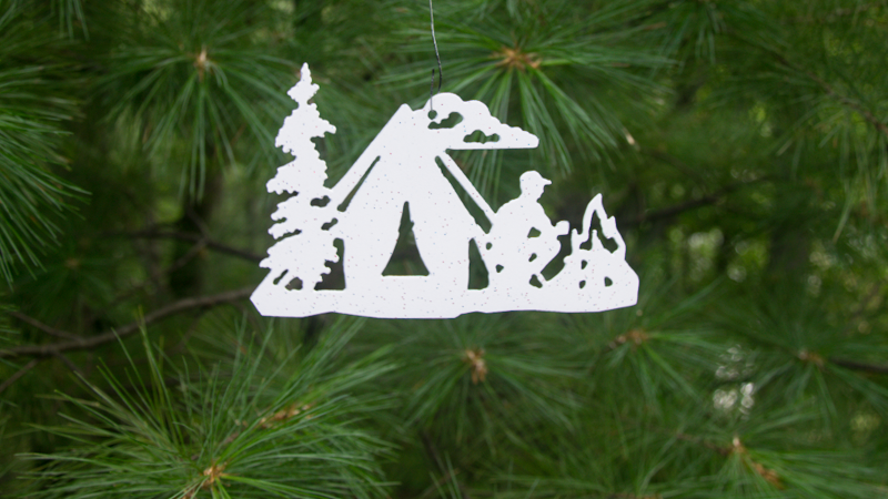 Tent camper ornament