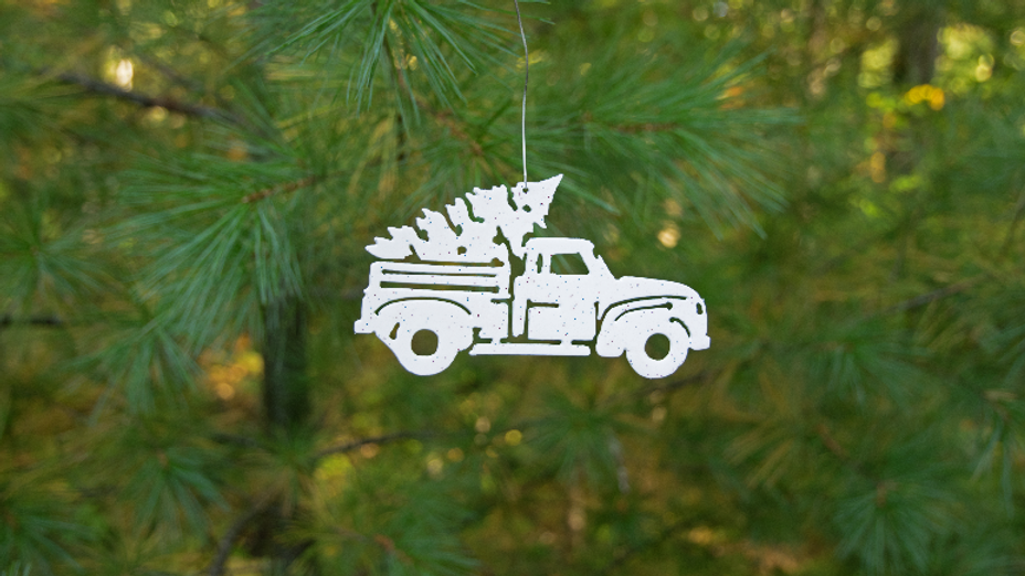 Truck andChristmas tree ornament-white