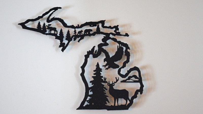 MIchigan Center-Cut Wall Art (Buck & Eagle)
