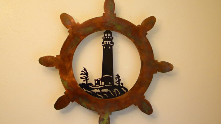 Captain's Wheel & Lighthouse Wall Hanging