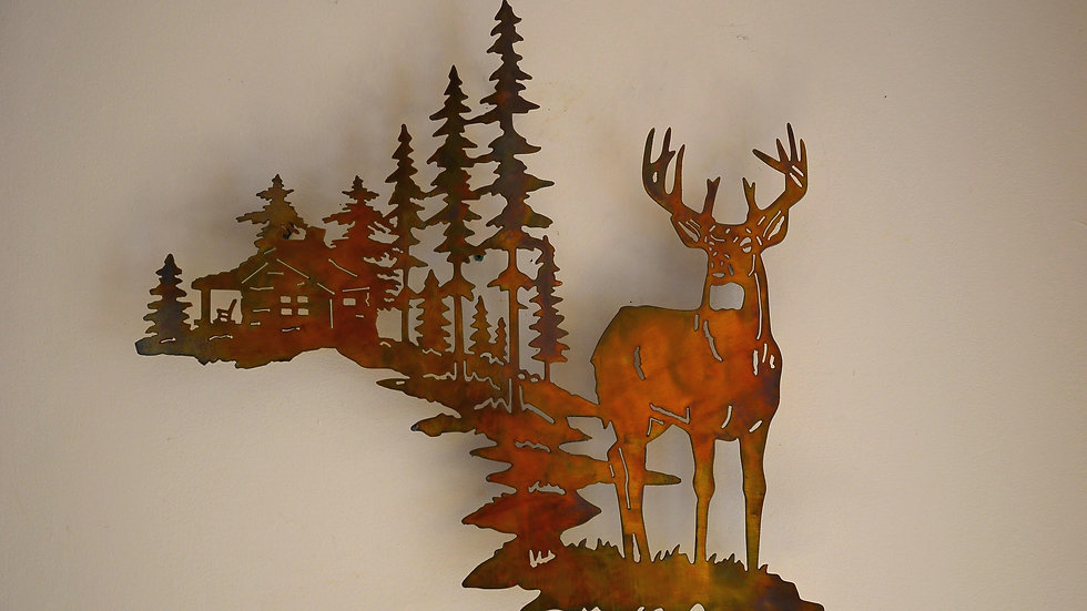 Buck & Cabin in the Pines Wall Hanging