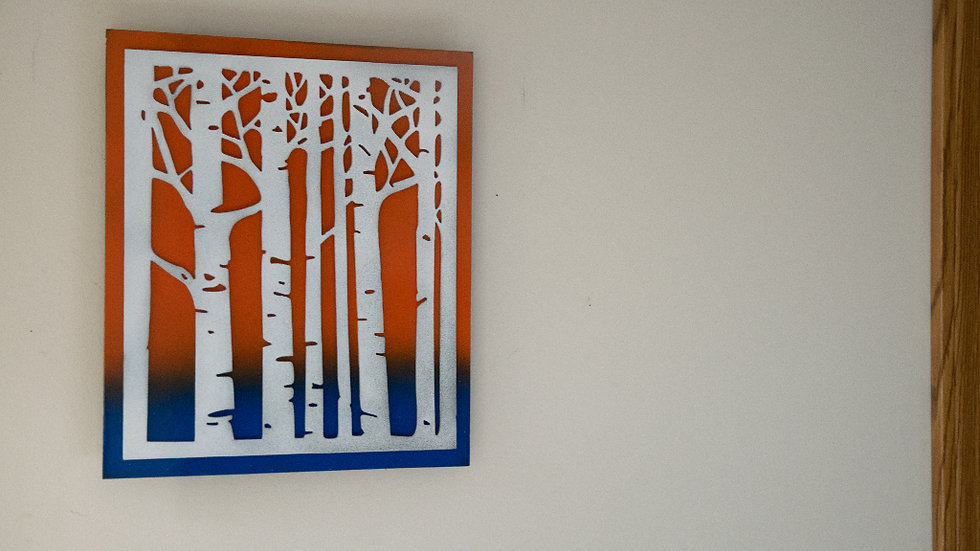 Birch trees sunset and water wall art