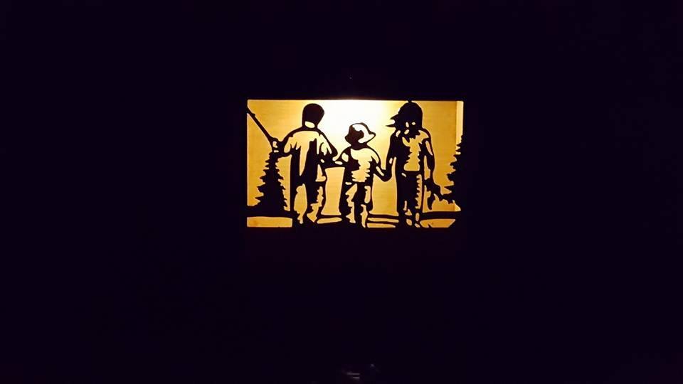 "Kids goin fishing 12"" x 9"" solar light box"