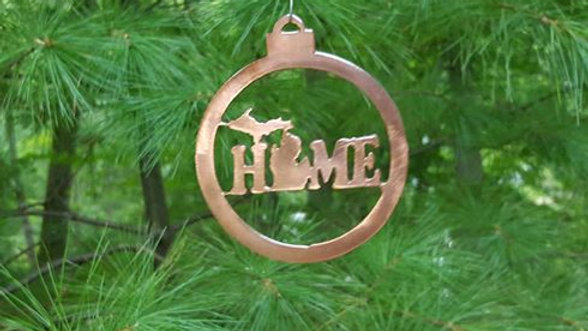 Michigan Home bulb ornament copper patina