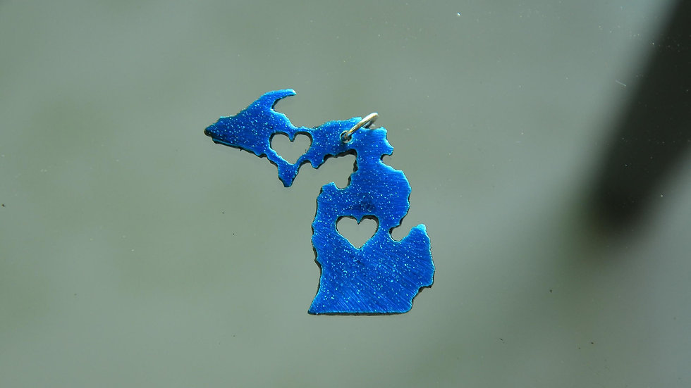 (Sale!) Michigan Metallic Blue w/ Hearts Pendant