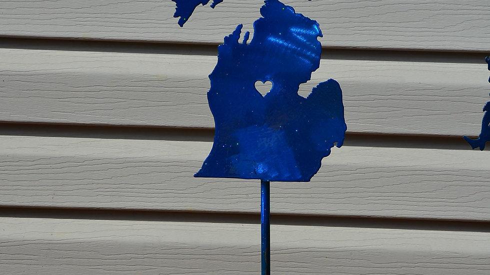 Michigan Heart Garden Stake