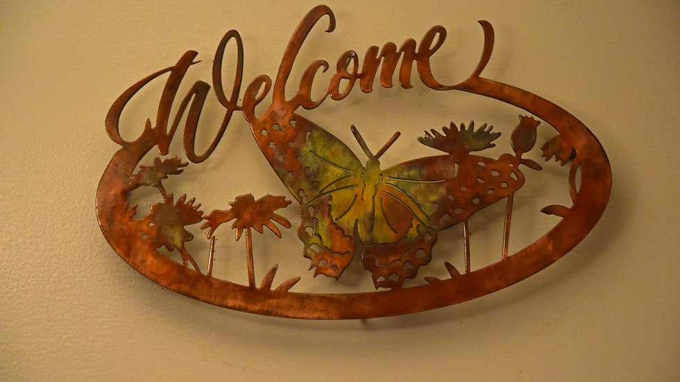 "Butterfly ""Welcome"" Wall Hanging"