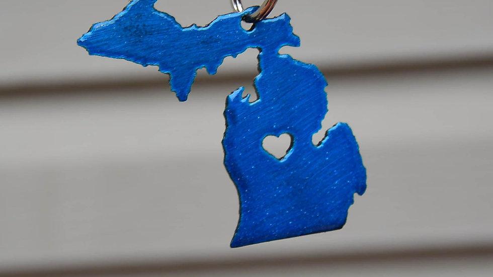 Michigan & Upper Peninsula Heart Keychain