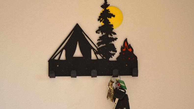 Camping scene keys holder