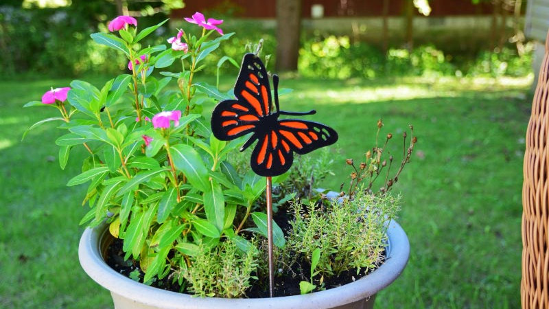 Monarch Butterfly Planter Stake
