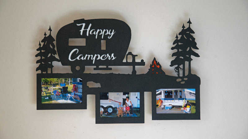 Happy camper three photo picture frame holder-wall mount