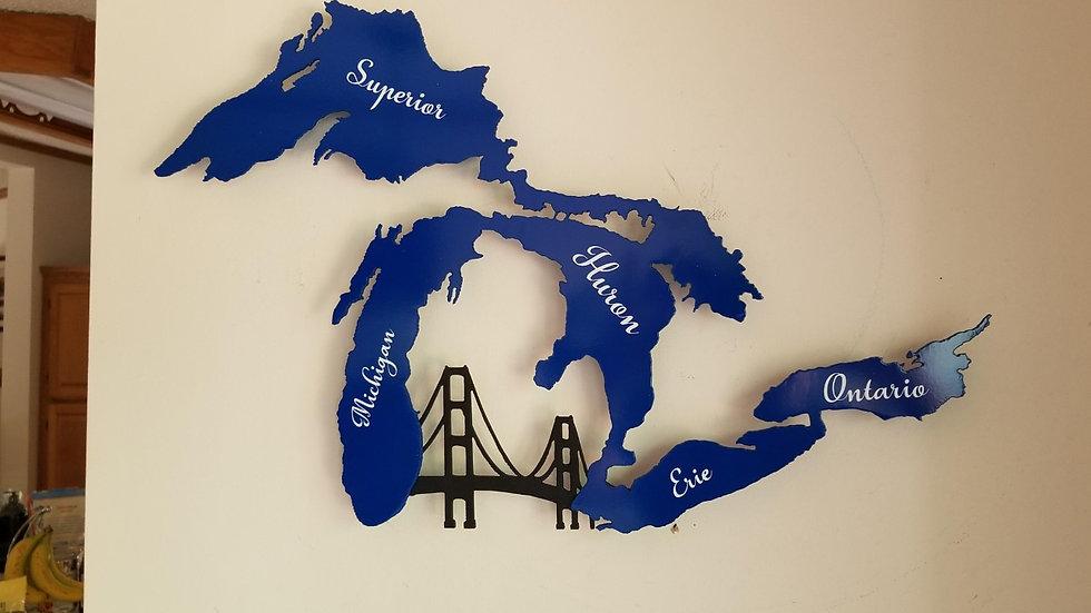 Great Lakes wall hang, Mackinac Bridge and lake names