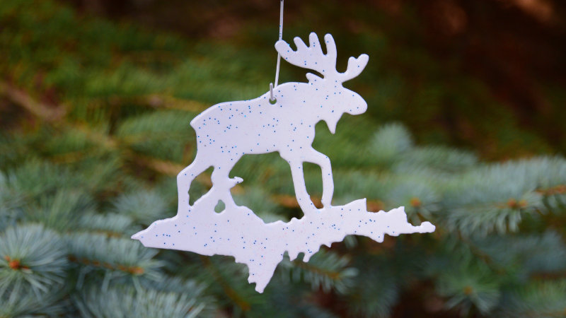 Moose & U.P. Ornament (White)