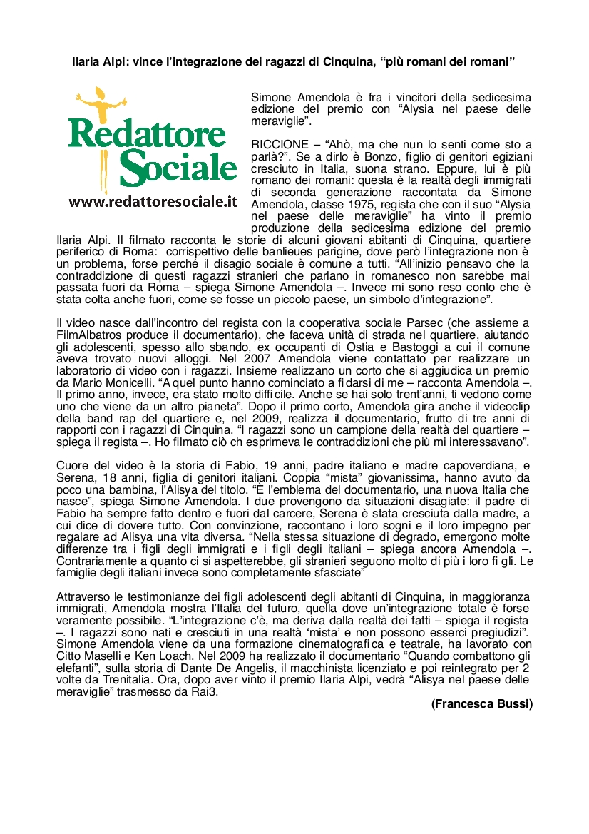 Redattore Sociale - Francecsa Bussi