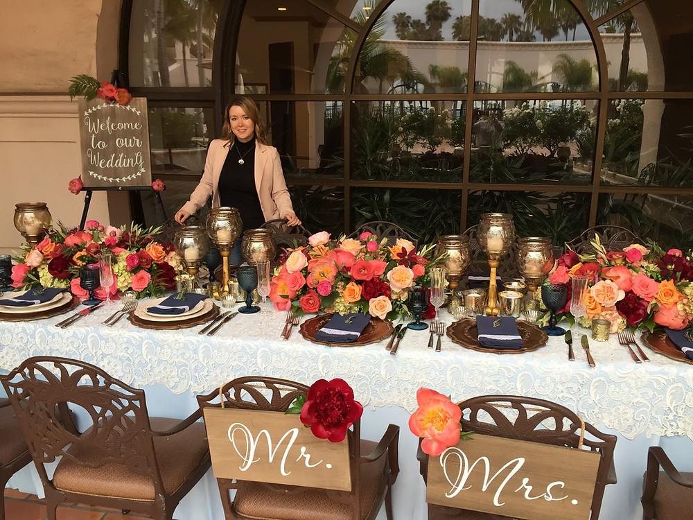 Декор для свадебного ужина в Санта-Барбаре.