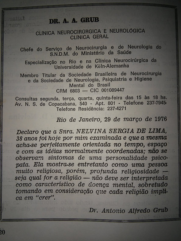 Atestado de sanidade mental de Nelvina Sérgia de Lima.