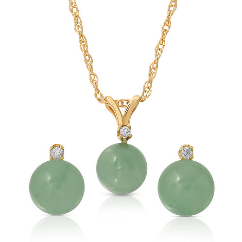 14K Gold Real Jade in Green Color 2pc Set with .05cts of White Diamond