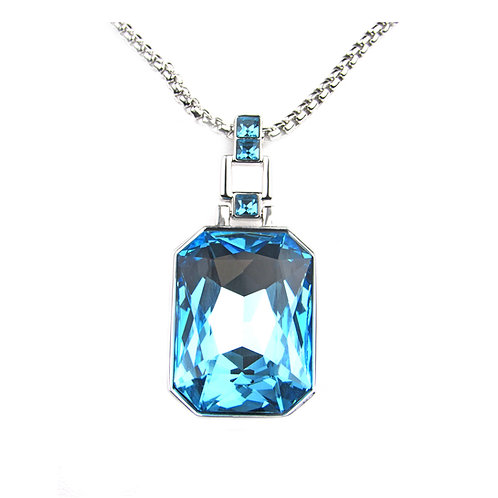 "Regalia Blue Austrian Crystal Necklace 28"" Long"