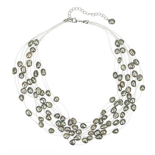 Multi Strand Baroque Gray Freshwater Cultured Pearl Floating Necklace