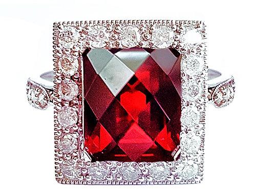 14K White Gold, Garnet and 1/2Ct White Diamond Ring - Size 7