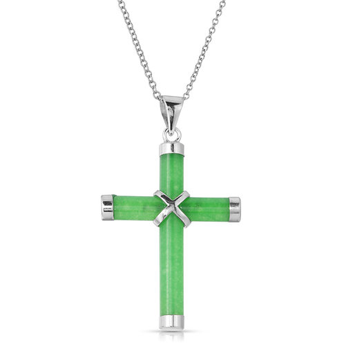 Genuine Green Jade Cross Pendant in .925 Sterling Silver