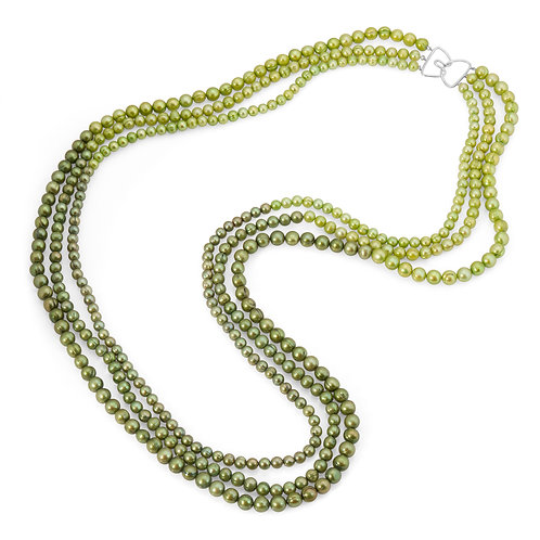 Multi Green Freshwater Pearl Ombre Necklace in Sterling Silver