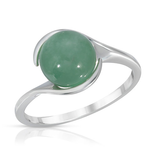 8mm Genuine Jade Bypass Ring in .925 Sterling Silver