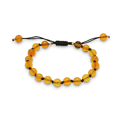 14K Yellow Gold 8mm Round Genuine Baltic Amber Adjustable Bracelet