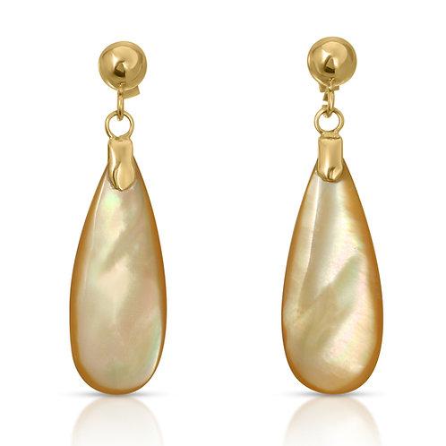 Yellow Mother of Pearl Tear Drop Dangle Earrings 14k