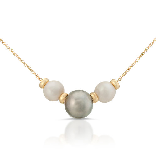Triple Platinum Tahitian South Sea and Freshwater Pearl Necklace 14K