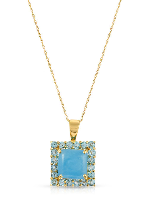 """Blue Jade and Blue Topaz Pendant Necklace in 14K Yellow Gold 17"""""""