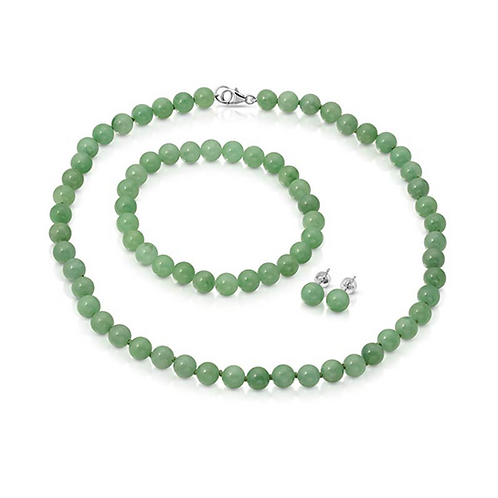 Genuine Green Jade 3pcs Jewelry Set, Necklace, Bracelet and Stud Earring