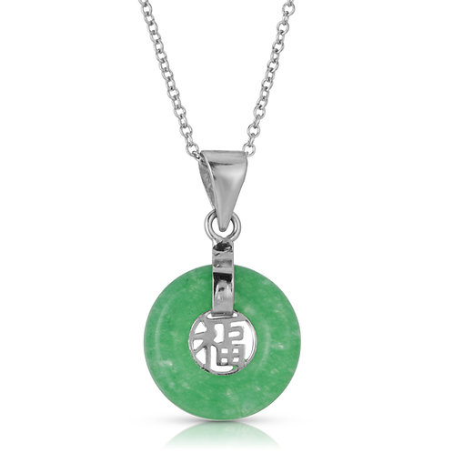 13mm Dainty Round Good Fortune Pendant in .925 Sterling Silver