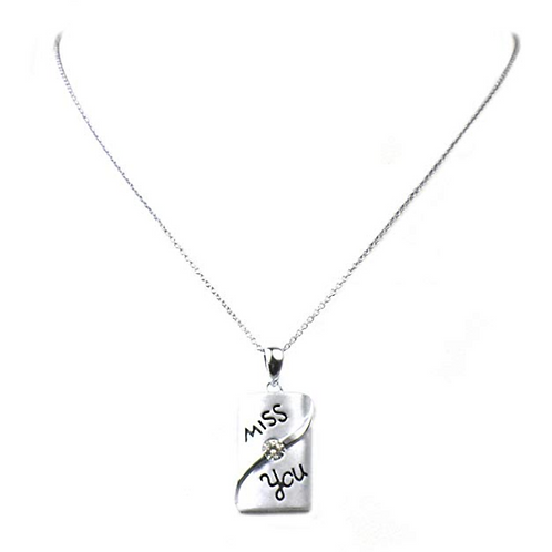 "Regalia""Miss You"" Sterling Silver and CZ Pendant Necklace 18"