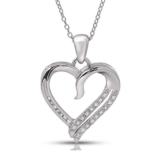 Sterling Silver White Diamond Heart Pendant (.12cts)