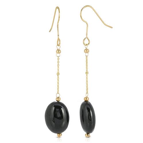 Genunie Black Onyx Oval Dangle Earrings in Gold Plated Sterling Silver
