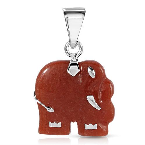 Genuine Jade Elephant Pendant in .925 Sterling Silver