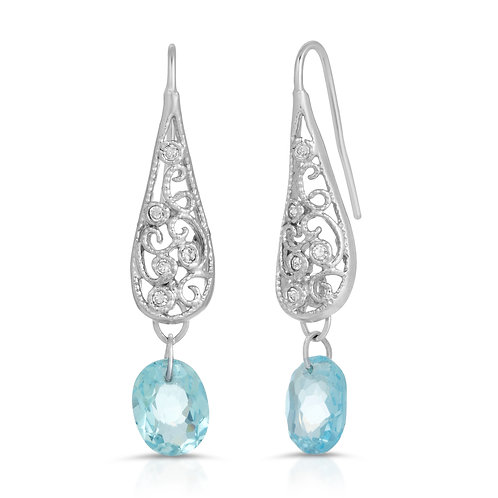 Swiss Blue Topaz Hook Earrings in Sterling Silver