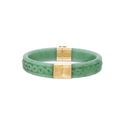 14K Yellow Gold Genuine Jade Hand Carved Bangle Bracelet