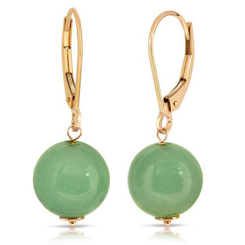 14K Yellow Gold Genuine 10mm Jade Leverback Earrings