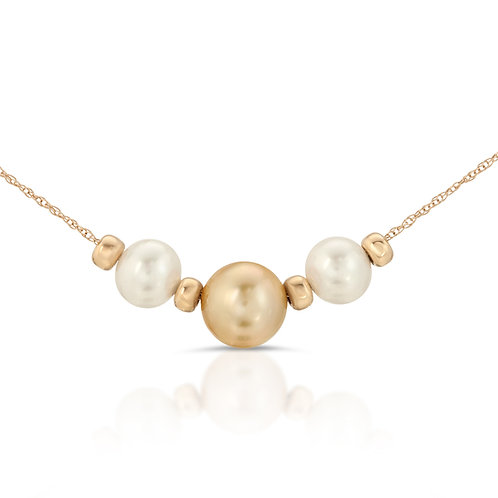 Triple Golden South Sea and Freshwater Pearl Necklace 14K