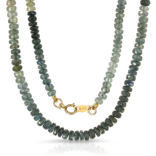 35-40 ct. tw. Faceted Multi Green Sapphire Bead Necklace with 14k Yellow Gold