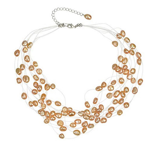 Multi Strand Baroque Peach Freshwater Cultured Pearl Floating Necklace