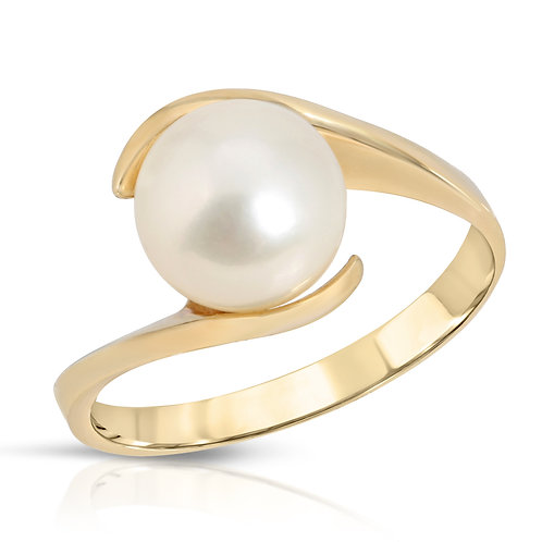 14K Yellow Gold and White Freshwater Pearl Ring