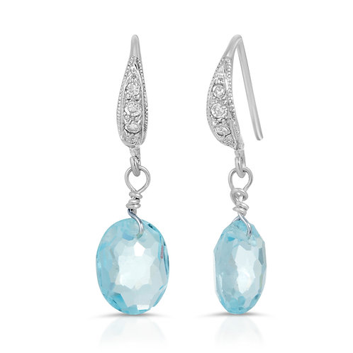 Swiss Blue Topaz Hook Earrings in Sterling Silver