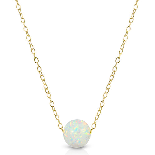 Single Bead 8mm Floating Opal Pendant Necklace in .925 Sterling Silver
