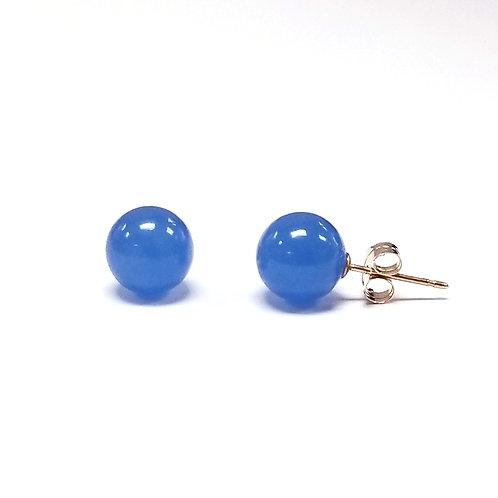 8mm Blue Jade Stud Earring in 14K Yellow Gold