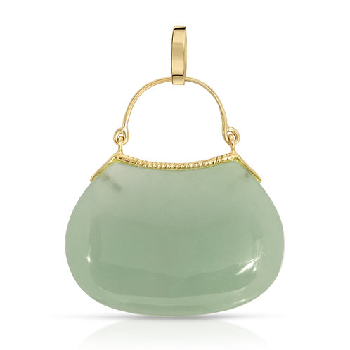 14K Yellow Gold Genuine Jade or Mother of Pearl Purse Pendant