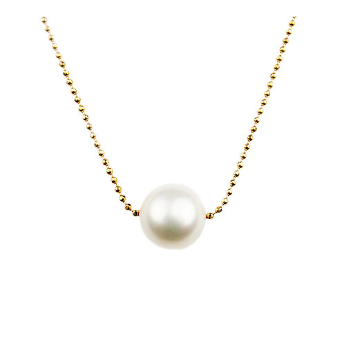 Floating Single Freshwater Cultured Pearl Necklace .925 Sterling Si