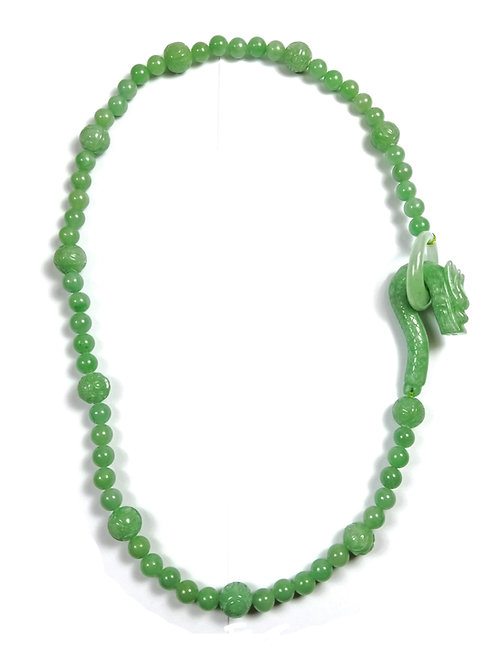 Hand Carved Genuine Jade Bead Necklace with Dragon Head